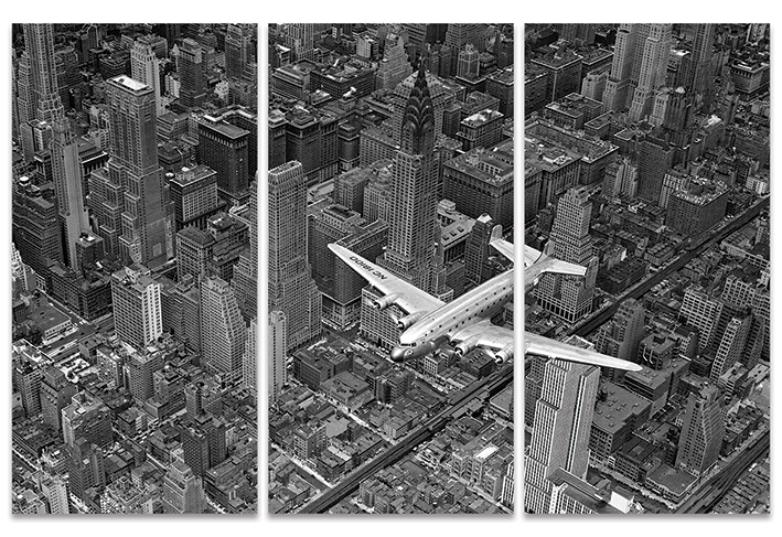 Time Life (DC-4 over Manhattan) Canvas Triptych