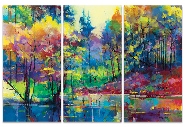 Doug Eaton (Meadowcliff Pond) Canvas Triptych